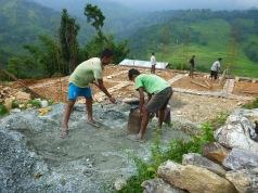 Mixing the concrete