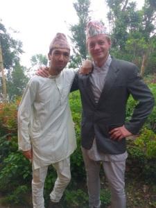 Nepali Jason and Brad in their celebration gear.